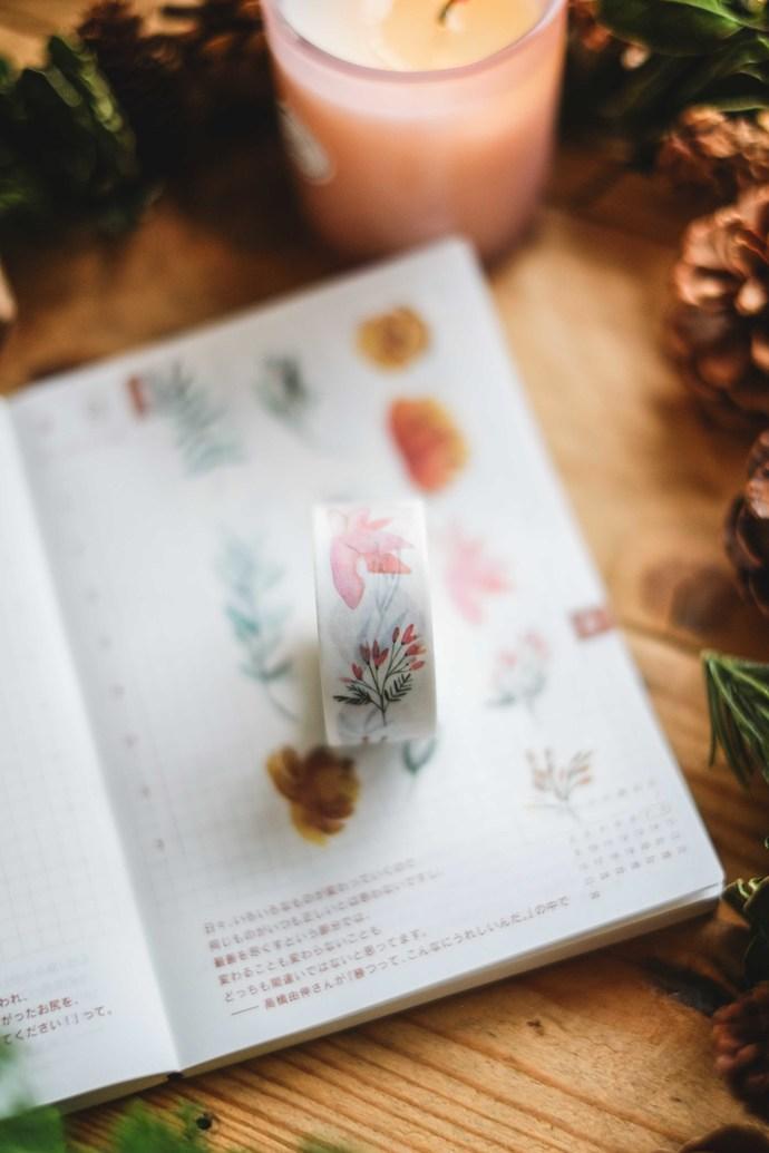 London Gifties original watercolour design washi tape - Warm Winter Plants - 2cm
