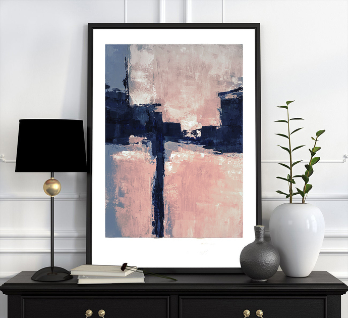 Blush Pink Minimalist Abstract Landscape - Instant Download - Printable Art -
