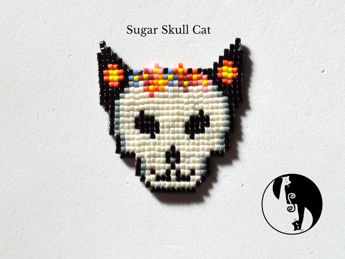 Sugar Skull Cat Tutorial in Square Stitch