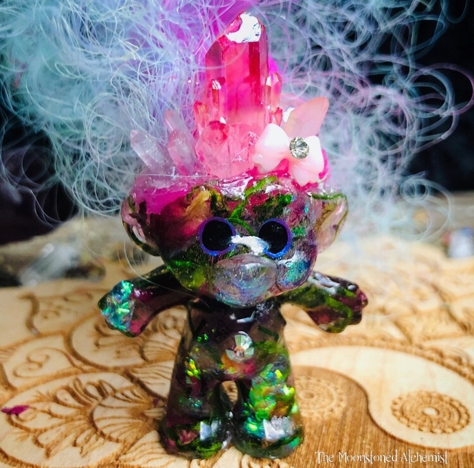 Glamorous Botanical Crystal Troll Babe adorned with Crystals