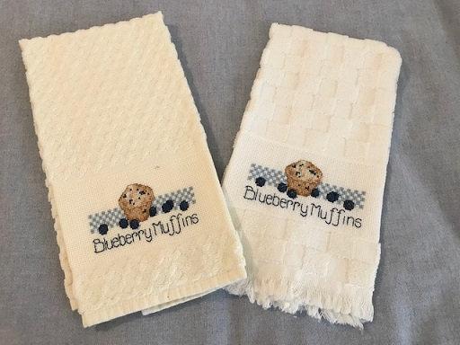 Cross Stitch Kitchen Towel - Blueberry Muffins - Kitchen Decor