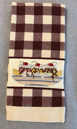 Cross Stitched Kitchen Towel - Banana Split - Kitchen Decor
