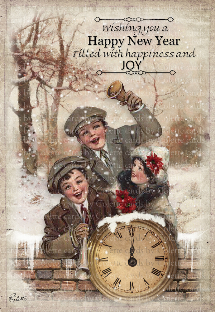 New Year Wishes Digital Collage Greeting Card2479