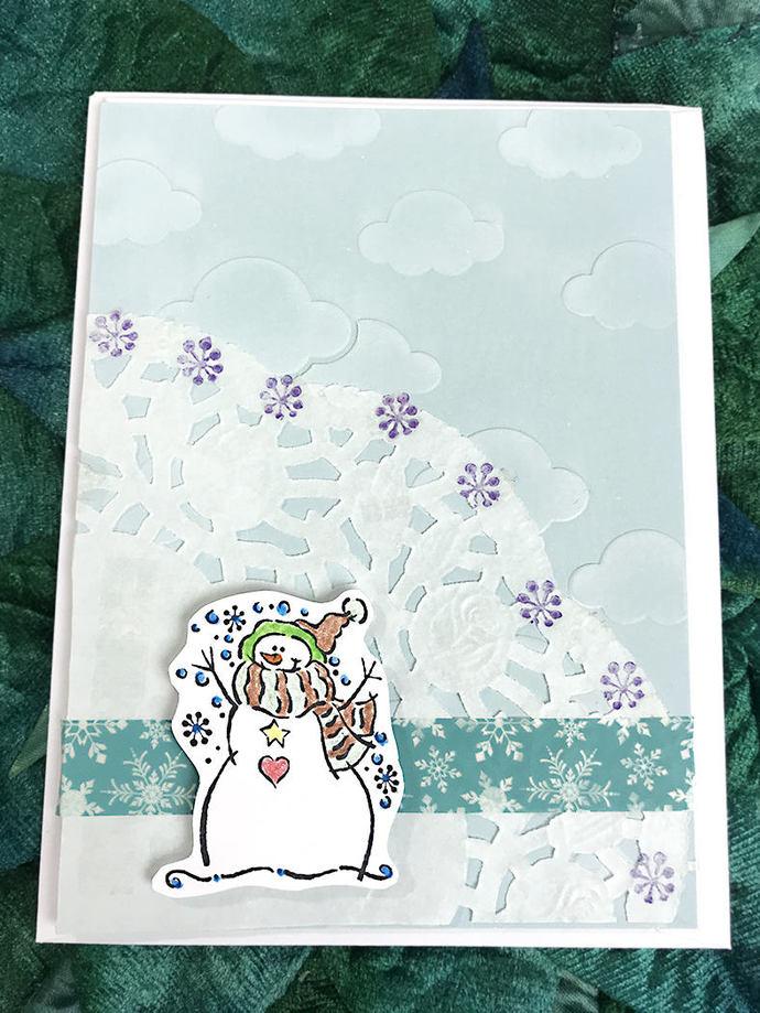Snowman Love Greeting, Note Card, Snowflake, Winter, Fun, Whimsy, Happy, Joy,