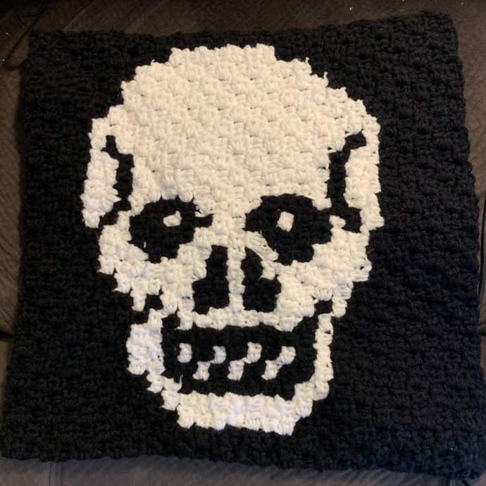 Skull C2C Crochet Pattern Panel Graph and Color Block Directions Only Black