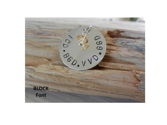 "1"" Personalized Sterling Silver Pendant with Charm  (Block Font) - Stamped"