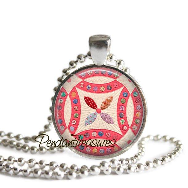 QUILT Glass Necklace Pendant Art Jewelry, Vintage Quilt Necklace, Quilter