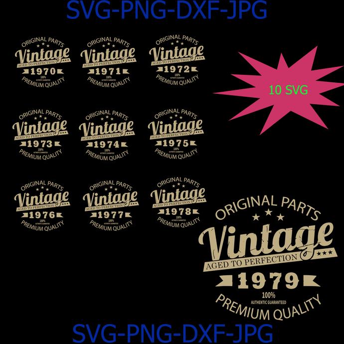Vintage Birthday 1970-1979 Svg Cut File, Aged to Perfection Svg, Birthday Svg,