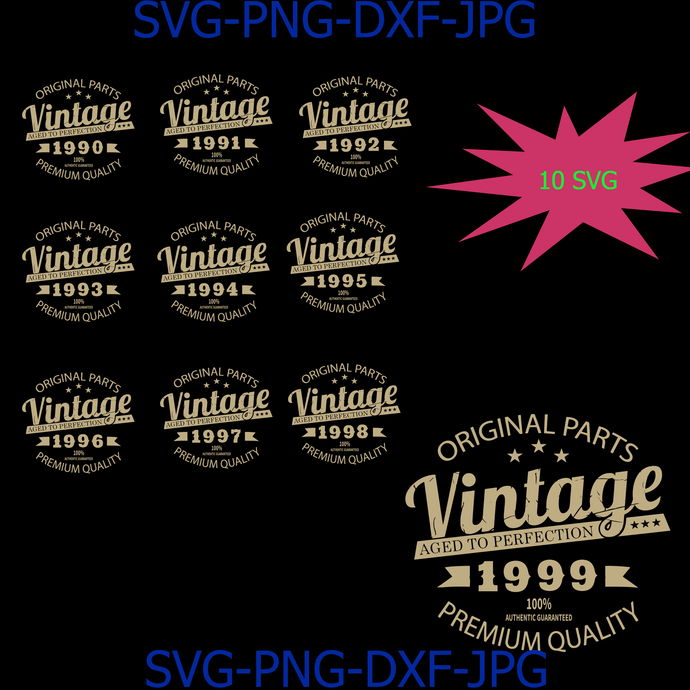 Vintage Birthday 1990-1999 Svg Cut File, Aged to Perfection Svg, Birthday Svg,