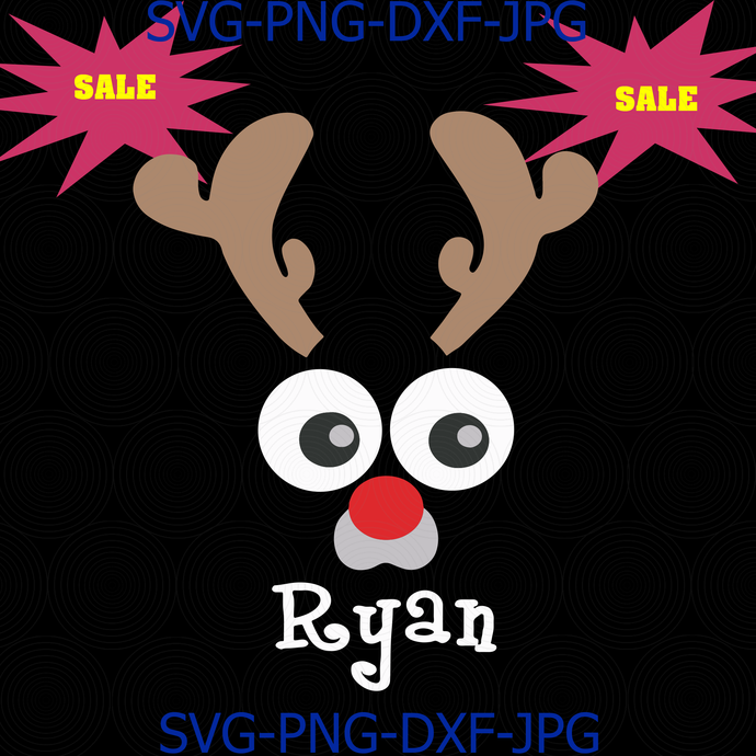 Christmas svg, Reindeer face svg, funny reindeer svg, reindeer Antlers svg, png,