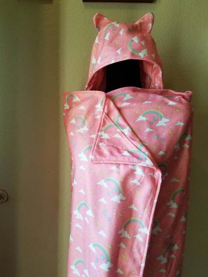 Pink, rainbows blanket hoodie
