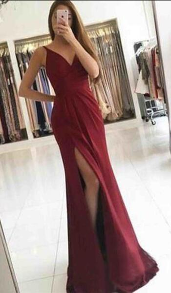 Simple Cheap Prom Dress,red Prom Dresses,chiffon Prom Dresses,v-neck Prom Dress