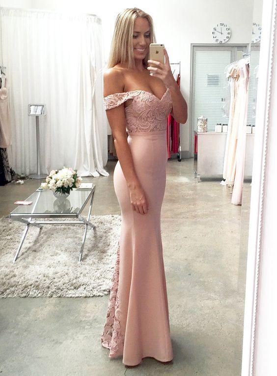 Blush Pink Bridesmaid Dresses,Lace Prom Dress, Vestido Mae Da Noiva, Mermaid