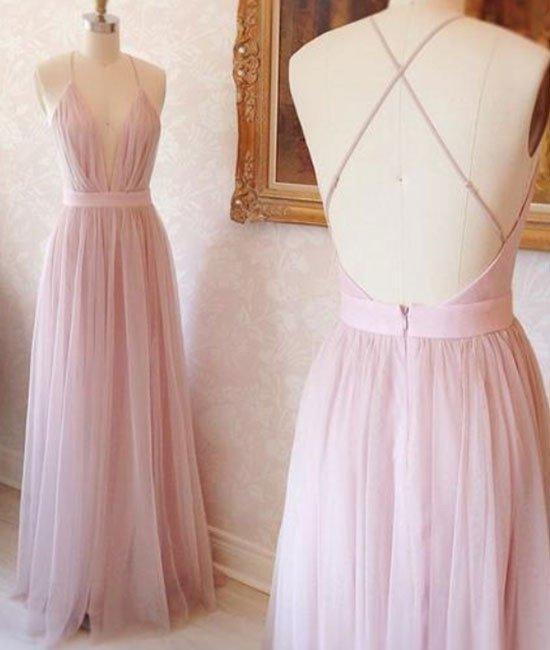 New Arrival Pink V Neck Tulle Long Prom Dress, Evening Dress
