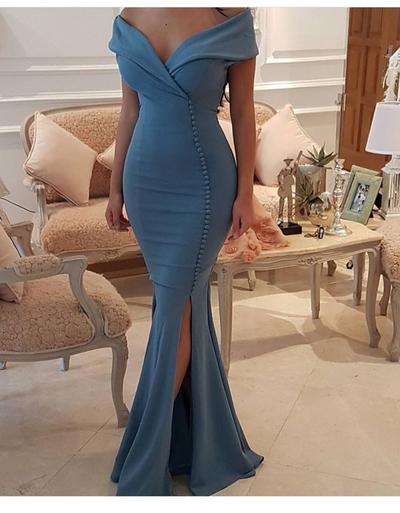Prom Dress,custom Made Off Shoulder Mermaid Long Prom Dress