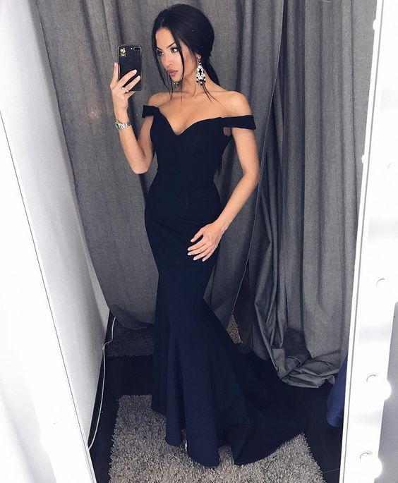 Elegant Off the Shoulder Mermaid Navy Blue Long Bridesmaid Dresses Prom Dresses