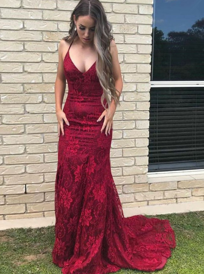 Lace Evening Dresses,Mermaid Prom Dresses,Spaghetti Straps Prom Gown