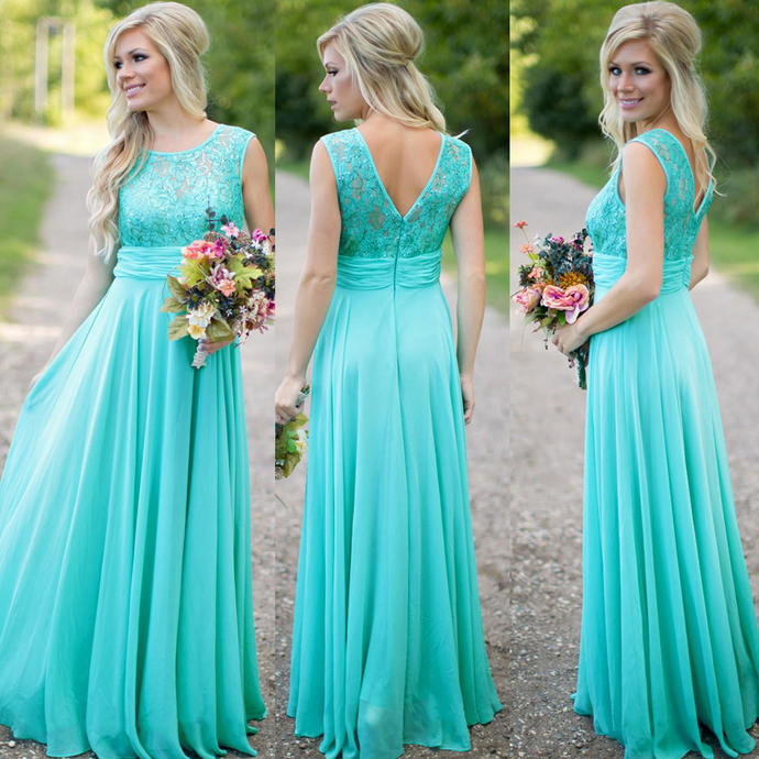 Turquoise Blue Bridesmaid Dress, Lace Bridesmaid Dress, Long Bridesmaid Dress,