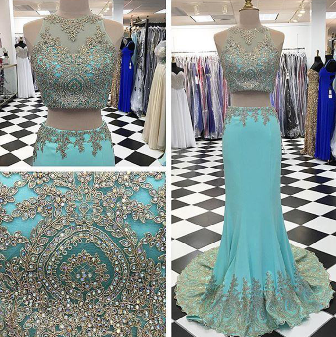 Long Two Pieces Prom Dress, Mermaid Prom Dresses, Formal Evening Gown, Applique
