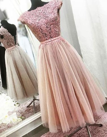 Short Prom Dress, Cap Sleeve Prom Dress, Lace Applique Prom Dress, Ankle Prom