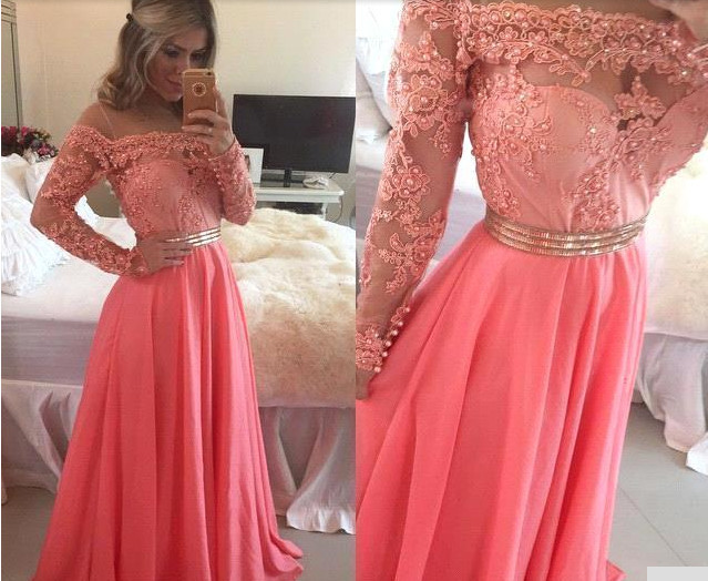 Long Sleeve Coral Prom Dress, Lace Prom Dresses, Coral Colored Prom Dress,