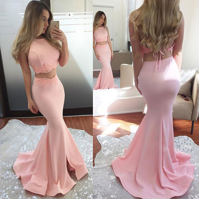 Pink Two Pieces Mermaid Long Prom Dress, Pink Evening Dress