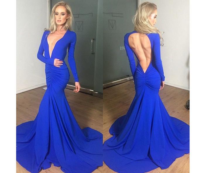 Blue Prom Dress,Long Sleeve Prom Dress,Backless Prom Dress,Mermaid Prom Dress