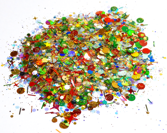 Christmas Baubles - Red, Green & Gold Chunky Loose Cosmetic & Craft Glitter Mix