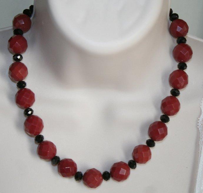 Red Ruby Crystal Quartz Statement Necklace, Bold Chunky Crystal Quartz Jewelry,