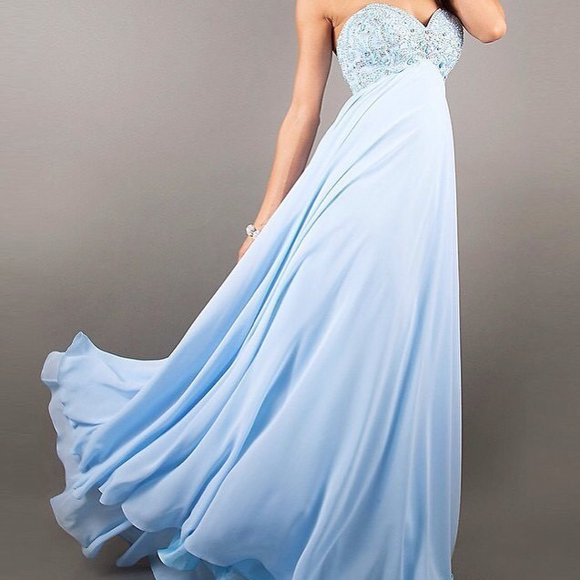 Light Blue Prom Dress,Chiffon Prom Gown, Beading Prom Dress, Sweetheart Prom