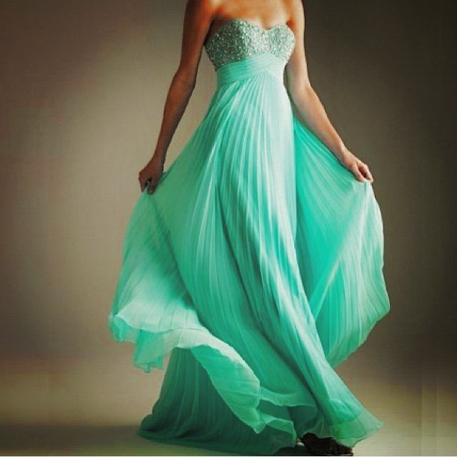 Pleat Prom Dress,Chiffon Prom Gown, Beading Prom Dress, Sweetheart Prom Gown