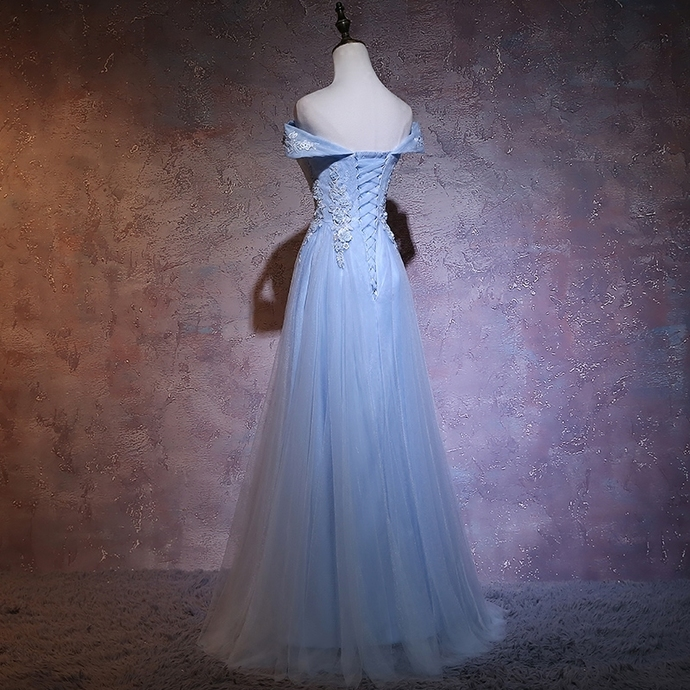 Fashionable Blue  Tulle Party Dress with Lace Applique, Long Bridesmaid Dress