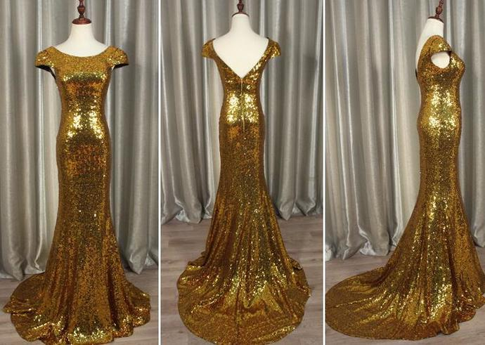 Gold Sequins Cap Sleeves Mermaid Party Dress, Bridesmaid Dress 2020