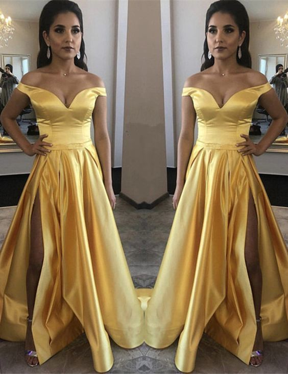 Yellow Prom Dress Long satin Split evening gown