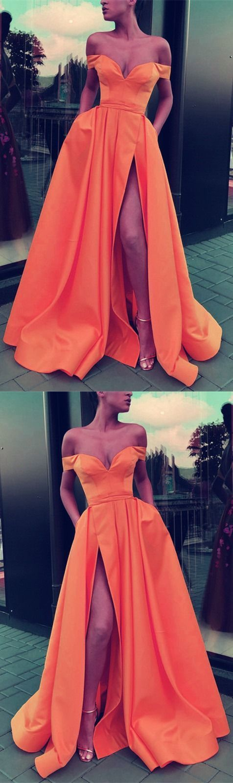 Sexy Split Prom Dresses Long Satin Off Shoulder Evening Gowns