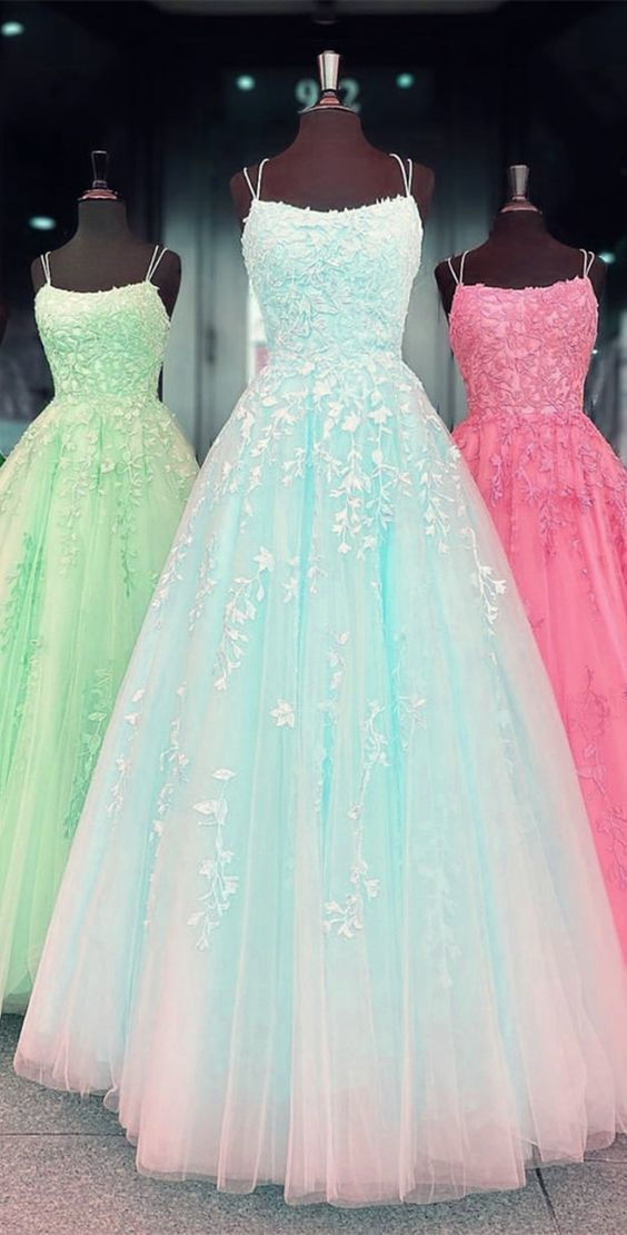 tulle prom dress princess ball gown lace embroidery