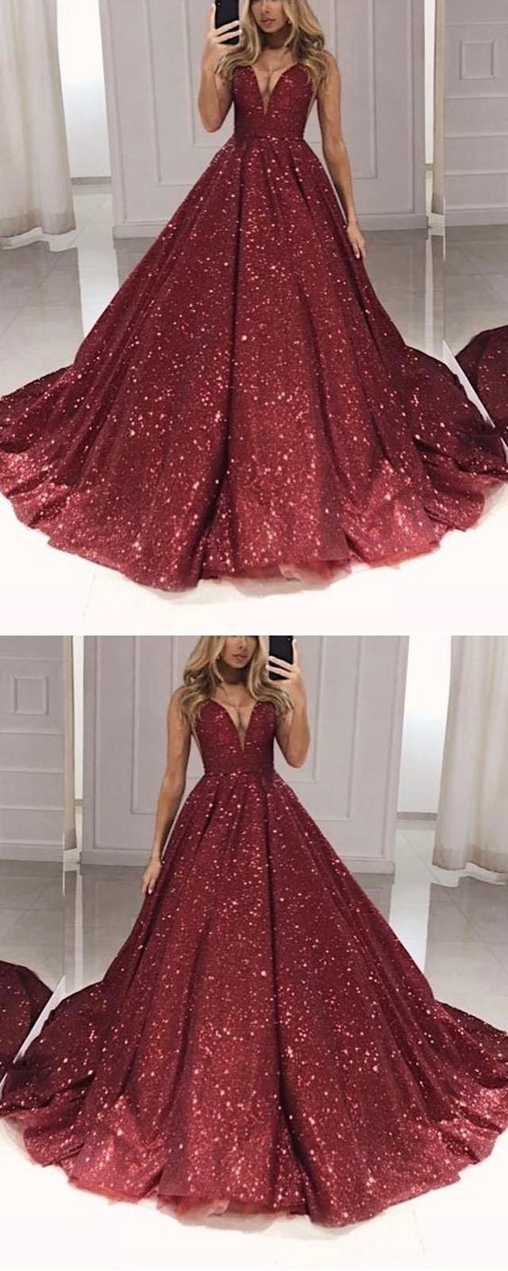 burgundy ball gown prom quinceanera dresses 2020 sparkle sequin v neck