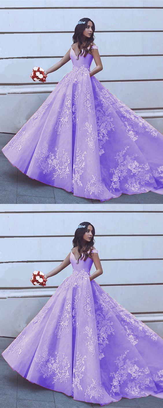 Elegant V-neck Off Shoulder Prom Dresses Lilac Princess Ball Gowns