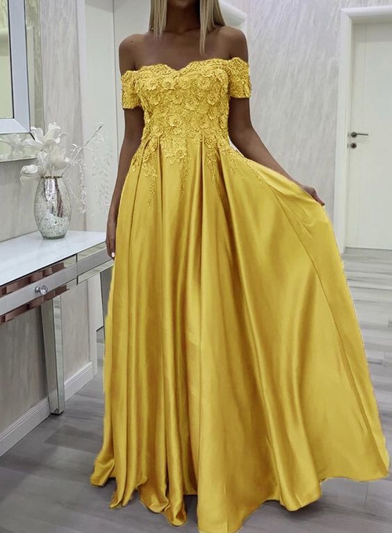 Long yellow prom dresses lace off shoulder satin evening gown