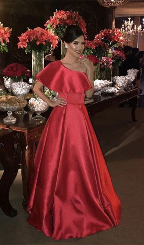 long red prom dresses one shoulder satin evening gown