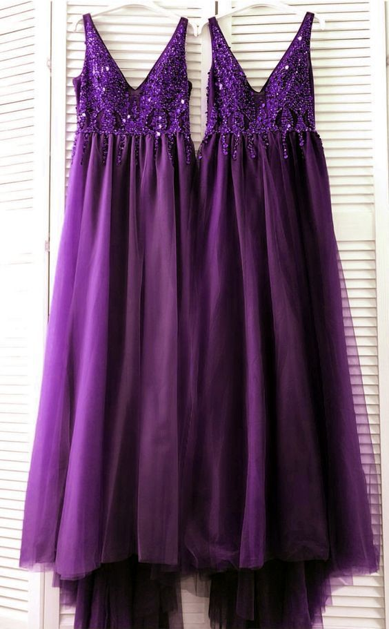 purple prom long dresses v neck sequin beaded evening gown 2020