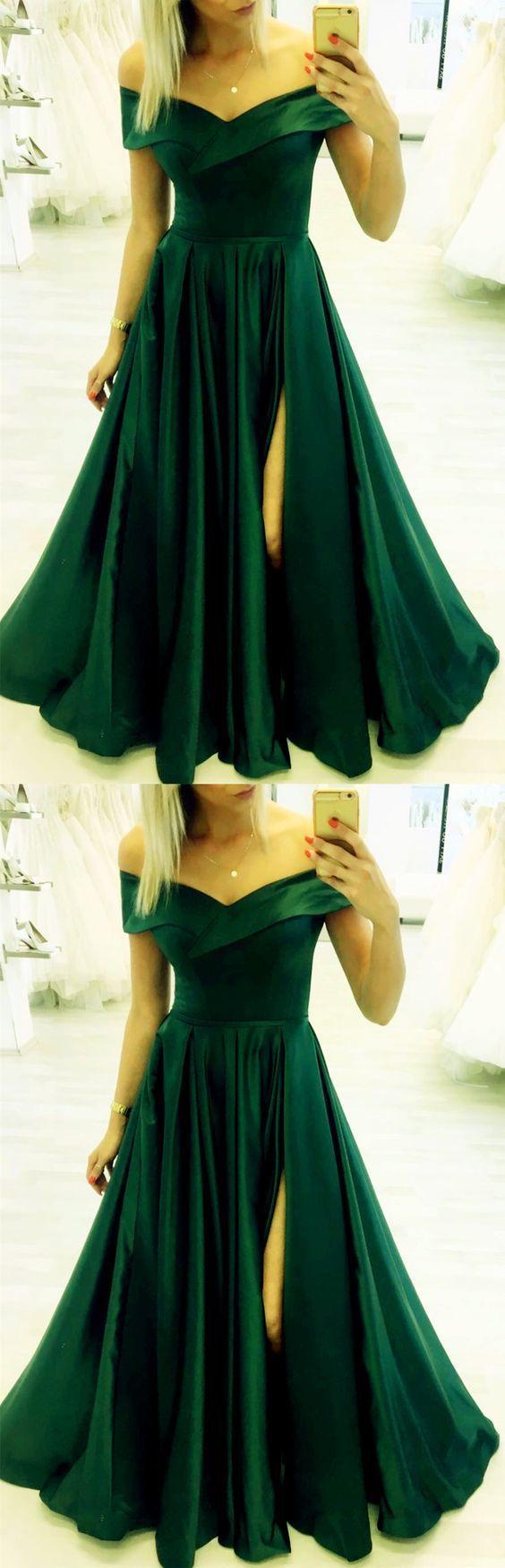 Gorgeous Satin Dresses With Off Shoulder And Leg Split Design