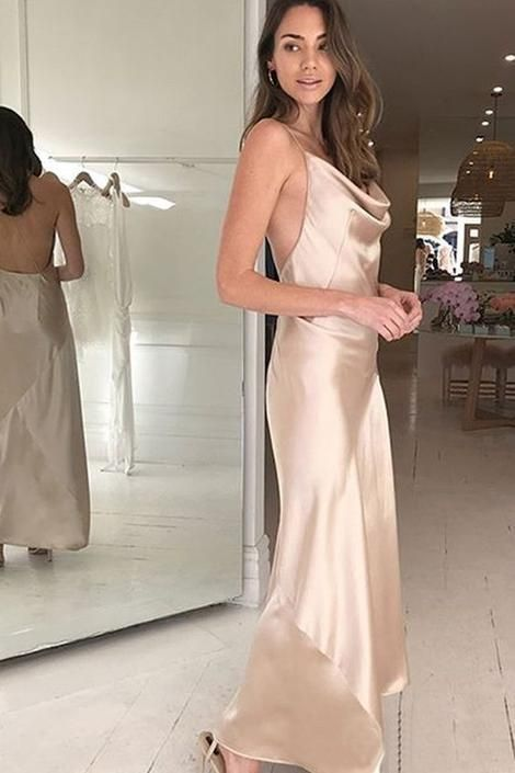 Spaghetti Straps Champagne Prom Dresses Long