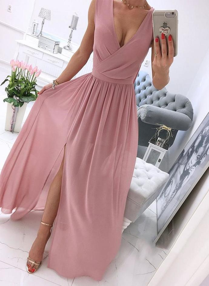 Pink chiffon v neck long prom dress simple evening dress