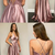 Spaghetti Straps Rose Gold Prom Dress with Side Slit