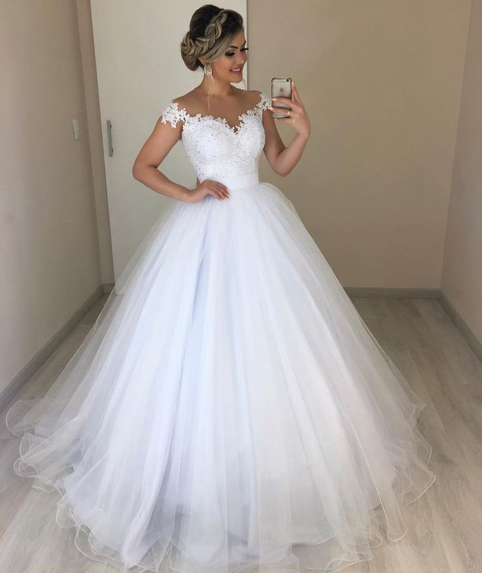 Off the Shoulder White Tulle Ball Gown Wedding Dress with Appliques Vestido de