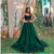 A-Line Spaghetti Straps Dark Green Long Prom Dress with Lace,2042
