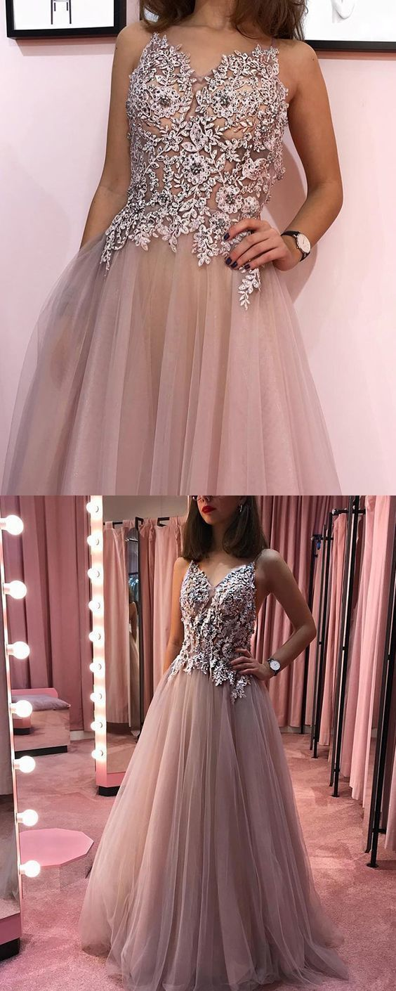 dusty rose v-neck beading appliqued pleated long prom dress