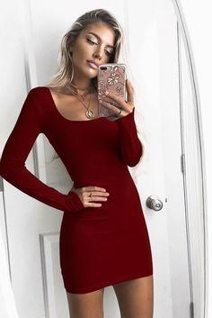 Pure Color Long Sleeves Short Dress ,Charming Homecoming Dress