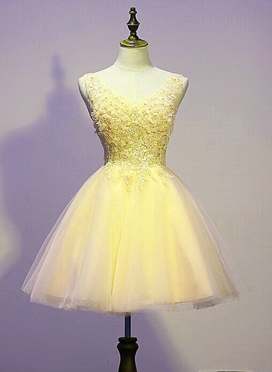 Lovly Yellow Party Dress 2020, Short Prom Dress 2020